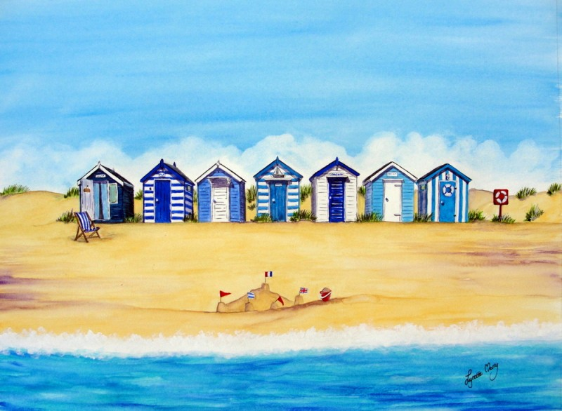Blue and White Huts - SOLD