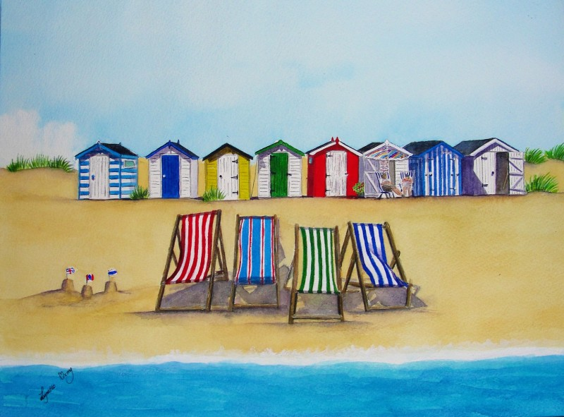 Beach Huts and Deckchairs - SOLD