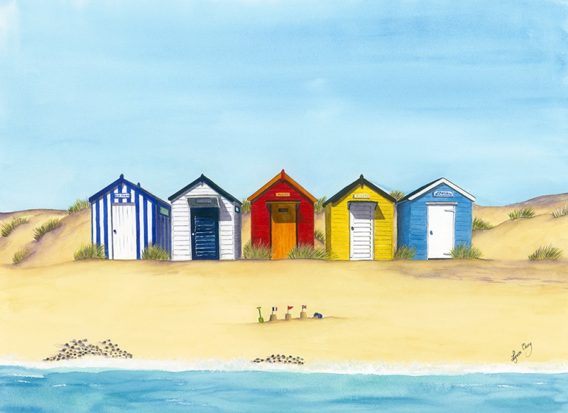 Sunny Southwold Huts - Large  Print
