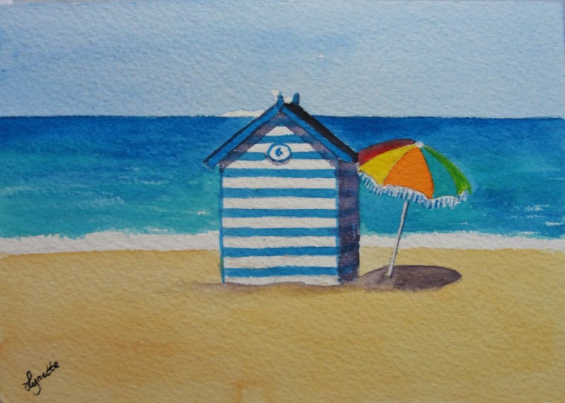 Beach Hut and Parasol - Small Original - £20
