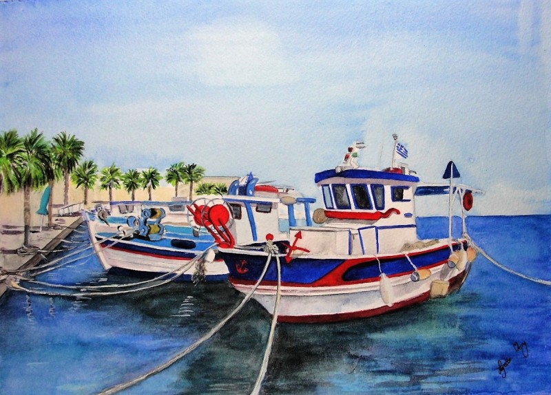Fishing Boats in the Harbour - Original - £75