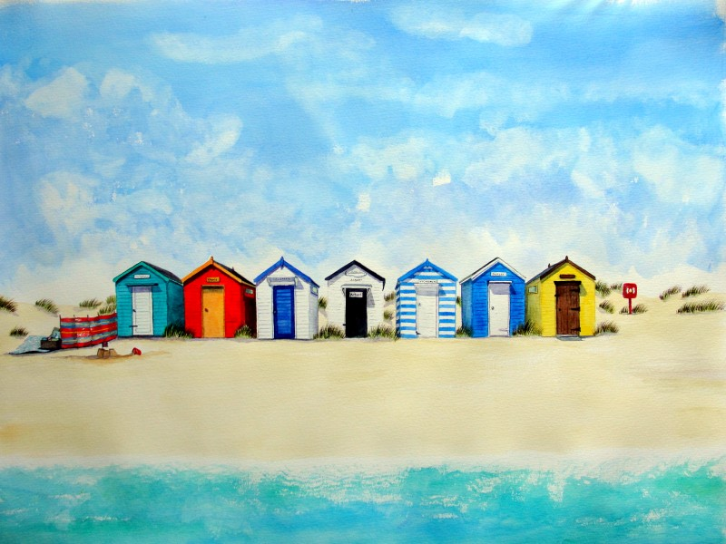 Picnic by Southwold Huts - Giclee Print £35
