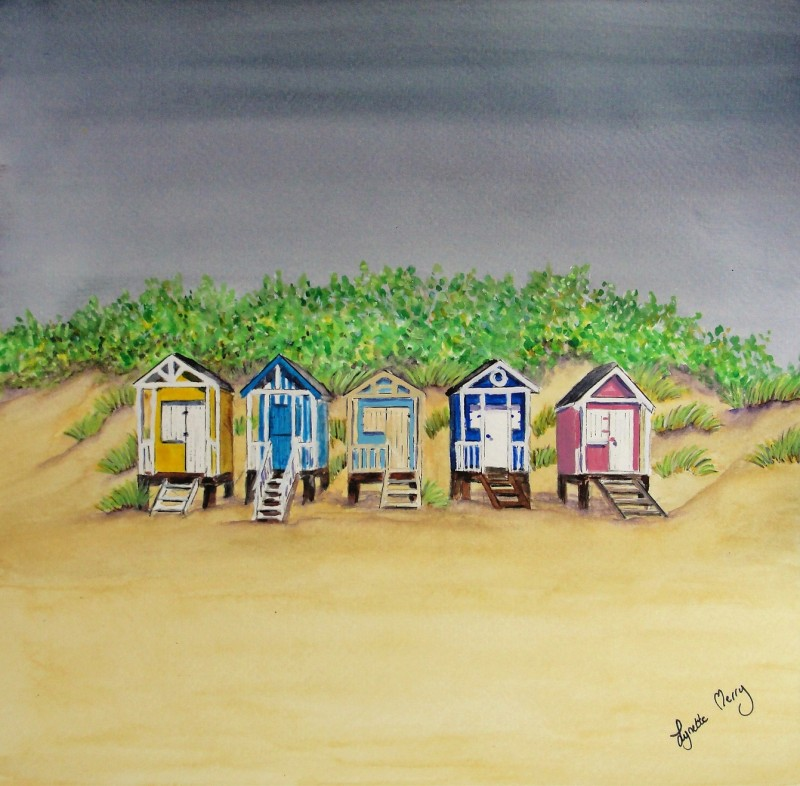 Wells Beach Huts & Stormy Skies - Original - £50