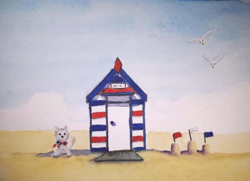 Beach Hut Belle - small original - £10