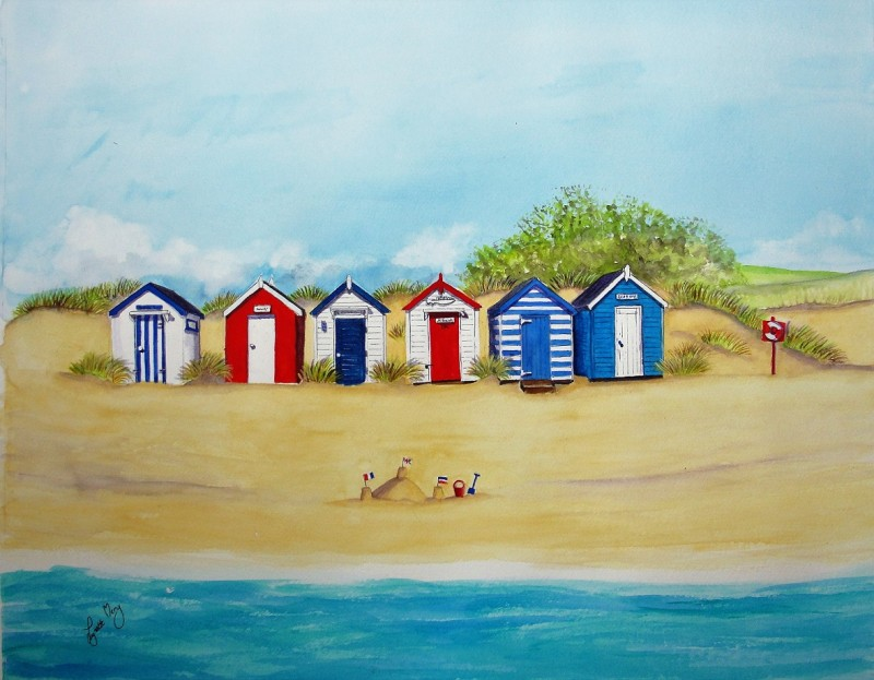 Southwold red, white and blue huts - Original £125