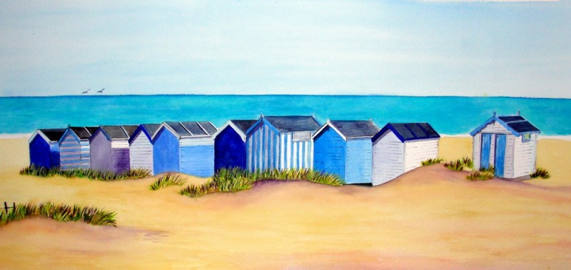 Nautical Blue Huts - Original £60