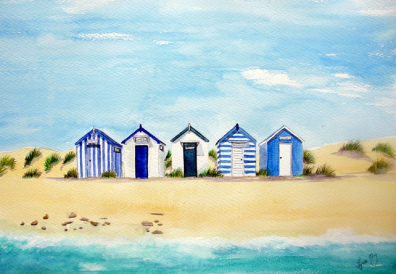 Southwold Blue & White Beach Huts Card