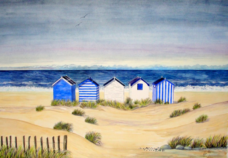 Beach Huts And Stormy Skies